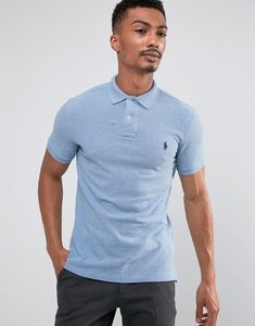 Read more about Polo ralph lauren pique polo slim fit in light blue marl - jamaica heather