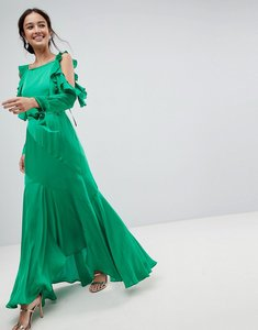Read more about Asos ruffle sleeve maxi dress with cold shoulder - green