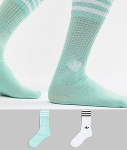 Read more about Adidas originals 2 pack crew socks in mint dh3362 - green