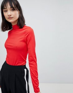 Read more about Pieces ribbed high neck jumper - tomato