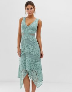 Read more about Little mistress lace insert midi dress with asymmetric hem detail in green