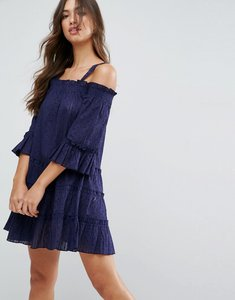 Read more about Asos dobby spot tiered cold shoulder mini sundress - navy