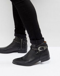 Read more about House of hounds axel leather buckle boots in black - black