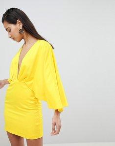 Read more about Asos satin cape kimono sleeve deep plunge mini dress - yellow