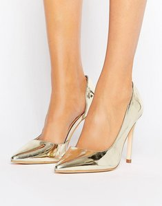 Read more about London rebel open waisted metallic court shoe - champagne pu