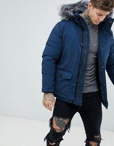 Read more about Devils advocate premium parka with faux fur hood coat - navy