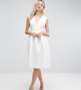 Read more about Asos tall scuba deep plunge prom midi dress - ivory