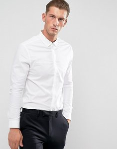 Read more about Asos skinny shirt in white with button down collar - white