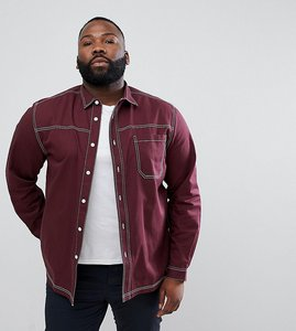 Read more about Asos design plus washed overshirt shirt with contrast stitching in burgundy - burgundy