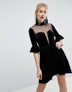 Read more about Asos velvet dobby mix deep plunge skater mini dress - black