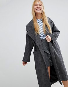 Read more about Monki check print tailored coat - grey