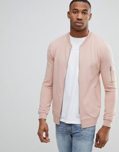 Read more about Asos muscle fit jersey bomber jacket in pink with ma1 pocket - fairy