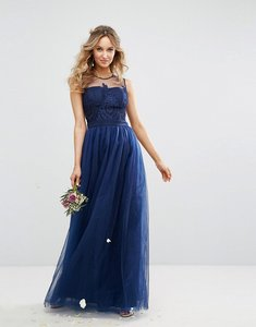 Read more about Chi chi london embroidered tulle maxi dress with button back