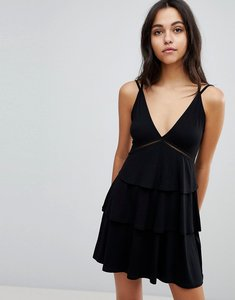 Read more about Asos strappy mini sundress with tier and ladder trim - black