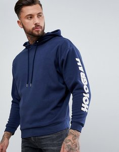 Read more about Asos oversized fleece hoodie with sleeve print in navy - navy
