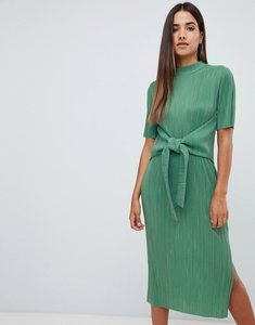 Read more about Asos design knot front plisse midi dress - sage