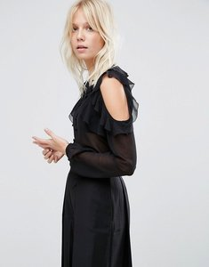 Read more about Asos collarless ruffle cold shoulder blouse - black