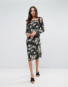 Read more about Miss selfridge floral cold shoulder midi dress - black floral