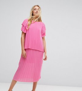 Read more about Y a s tall pleated midi skirt - pink