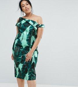 Read more about Asos curve palm leaf hitchcock midi pencil dress - multi