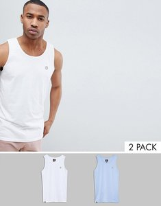 Read more about Le breve 2 pack basic raw edge vest - white