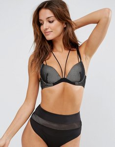 Read more about Asos piper fishnet moulded underwire bra - black