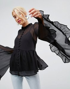 Read more about Asos kimono sleeve blouse in chiffon - black