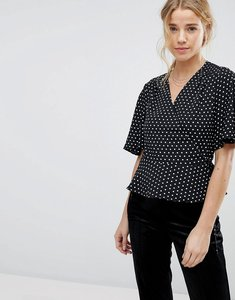 Read more about Miss selfridge spot print wrap front top - multi