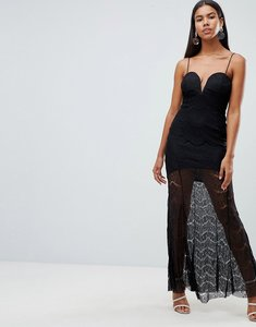 Read more about Rare london lace illusion plunge maxi dress - black