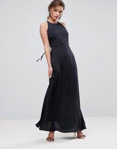 Read more about Asos open back halter maxi dress - black