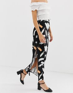 Read more about Asos design city maxi skirt with side split in brush print