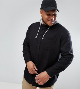 Read more about Asos plus oversized hooded shirt - black