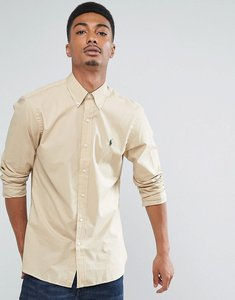 Read more about Polo ralph lauren slim fit poplin shirt buttondown in beige - dusty tan