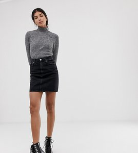 Read more about Asos design tall denim original high waisted skirt in washed black - washed black