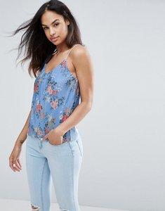 Read more about New look floral plisse cami - blue pattern
