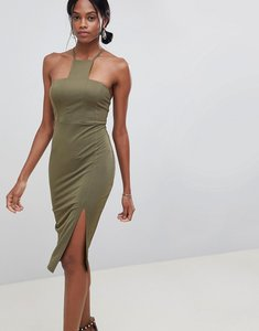 Read more about Asos design square neck racer neck midi dress - khaki