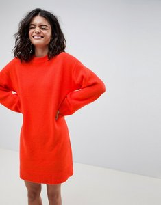 Read more about Asos design knitted mini dress in fluffy yarn - tomato