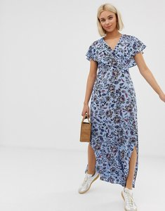 Read more about Qed london tie back wrap front maxi dress in floral print