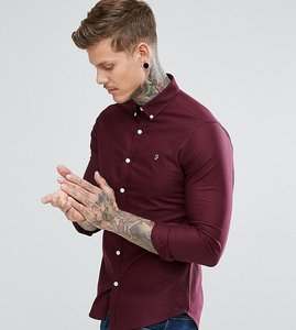 Read more about Farah skinny fit button down oxford shirt in bordeaux - bordeaux 507