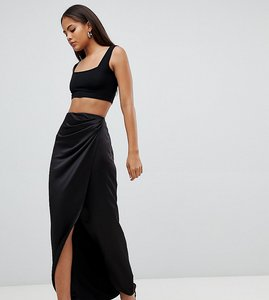 Read more about Asos design tall satin wrap maxi skirt - black