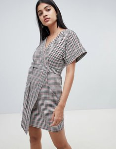 Read more about Asos design wrap mini dress in check with kimono sleeve - multi