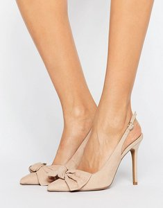 Read more about Coco wren bow front slingback point high heels - nude micro