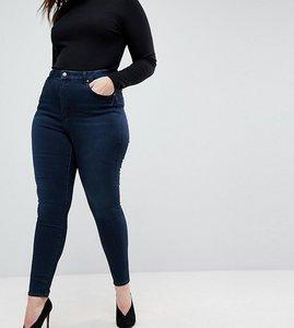 Read more about Asos design curve sculpt me high rise premium jeans in dark wash blue - dark wash blue