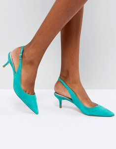 Read more about Dune kitten heel sling back shoe in teal suede - green suede
