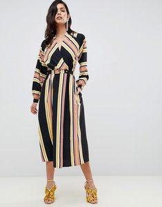 Read more about Asos design wrap maxi dress in stripe with long sleeves - multi