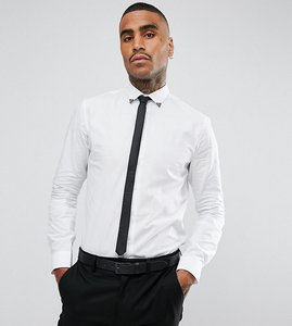 Read more about Noose monkey skinny smart shirt with collar - white
