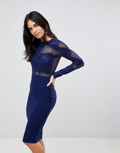 Read more about Ax paris long sleeve applique bodycon dress - navy