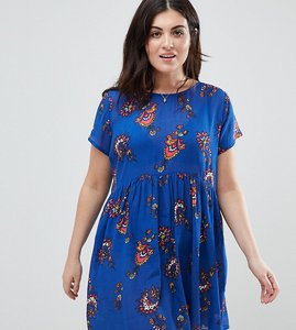 Read more about Brave soul plus floral print smock dress - royal blue