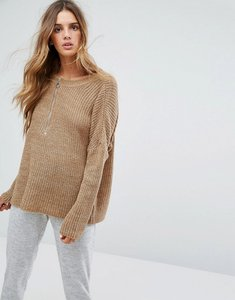 Read more about Micha lounge slouchy zip detail jumper - tan