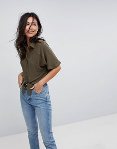 Read more about Asos design tie front shirt in crinkle - khaki